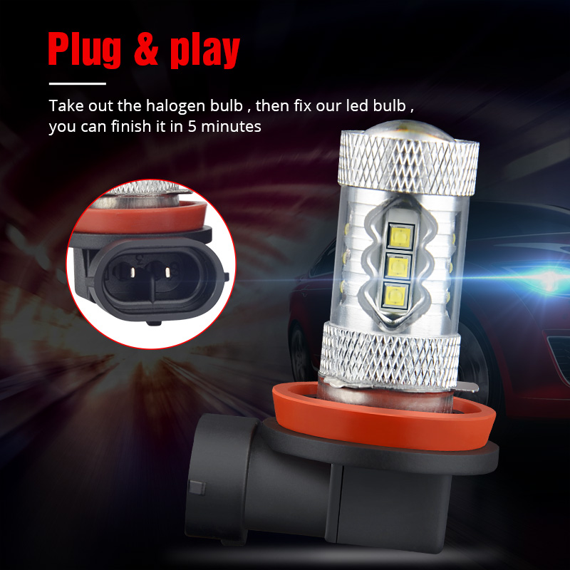 Image 3 - NAO H11 led 9005 HB3 9006 HB4 fog lights H8 H10 12V 16SMD CREE Chip DRL 1600lm Car LED H9 80W Auto Bulb 6000K White Lamp-in Car Fog Lamp from Automobiles & Motorcycles