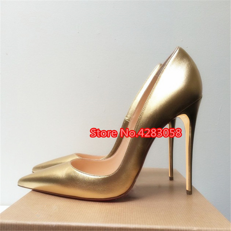 Free shipping fashion women Pumps lady Gold matt leather point toe high heels shoes thin heeled 12cm 10cm 8cm Stiletto bride in Women 39 s Pumps from Shoes