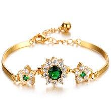 Роскошные бусы В18 карат золото Браслеты для Для женщин Мода браслет аксессуары с украшением в виде кристаллов Свадебные украшения подарки на день рождения