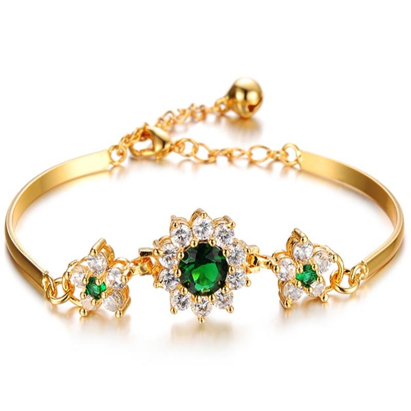 2019 Luxury 18K Gold Bracelets For Women Fashion Bracelet Accessories Crystal Charm Wedding Jewelry Birthday Gifts