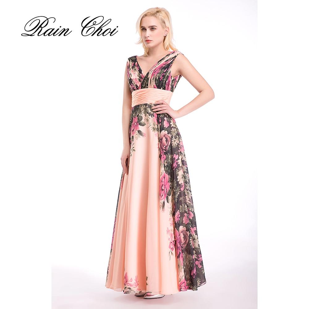 Gaun malam formal yang dicetak bunga, Gaun Prom Line, Wanita Gaun Prom Panjang