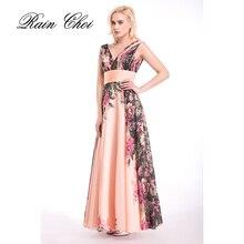 Elegant Long Party Prom Dresses Women Floral Printed Cheap Luxury Evening Dress For Graduation Gowns Vestidos De Baile