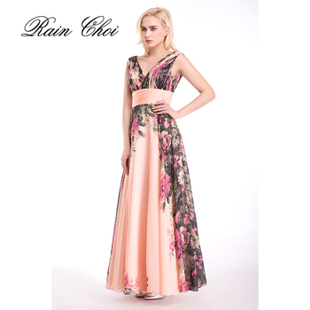 Floral Printed Formal Evening Dress A Line Prom Gowns Women Long Prom Dresses