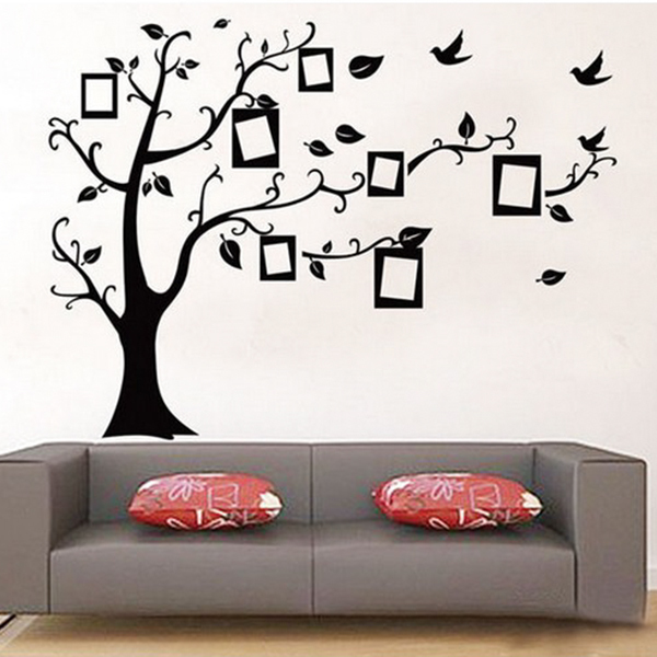 New Size 70*50cm Black Color Family Tree Sticker Wall Decal  Photo
