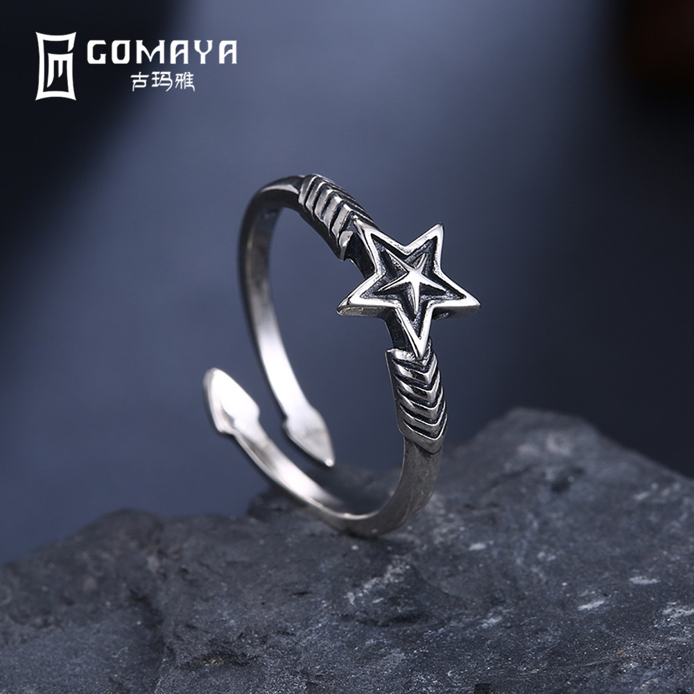 GOMAYA Antique Retro Vintage Star Ring Fine Jewelry Gift for Women Accessories 925 Sterling Silver Anel