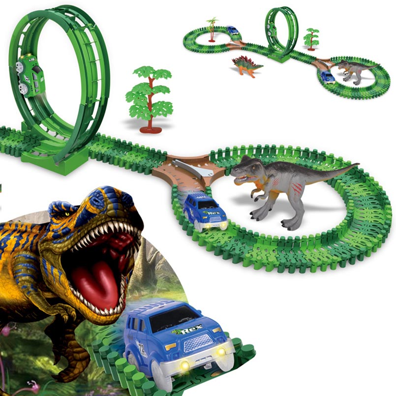 Jurassic World Dinosaur track car toy Roller Coaster Track Accessories Glow in the Dark Magical Track Educational Toy For Kids