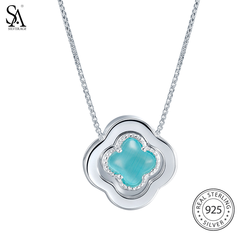 SA SILVERAGE 925 Sterling Silver Long Necklaces Pendants Fine Jewelry Four Leaf Clover 925 Silver Maxi