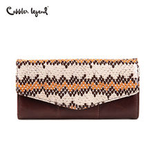Cobbler Legend 2019 Serpentine Genuine Leather Wallet For Women Purse Clutch Bag Coin Purse Brand Patchwork Wallet Long Women(China)