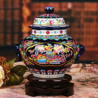 Jingdezhen porcelain enamel general blue vase of modern fashion furniture and ornaments handicraft swing