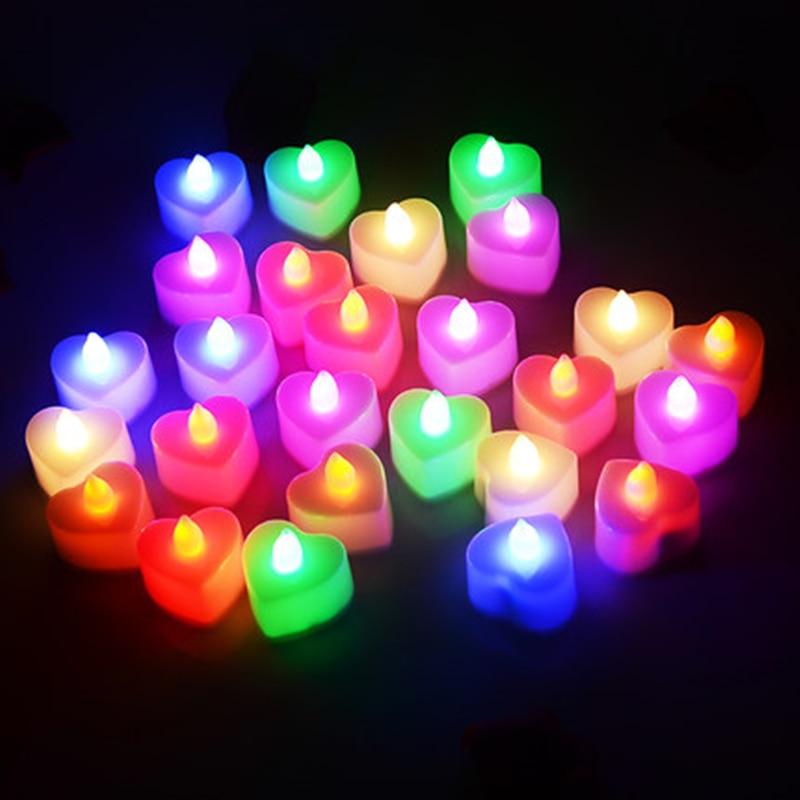 24pcs Heart/love Shape Electronic Candle Simulation Candle Lights Flameless Flashing Tea Lights  Wedding Party Decoration