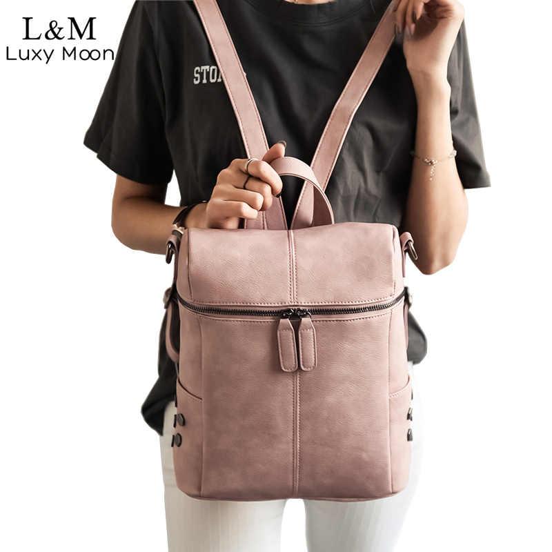 92f88efd583f Простой стиль женский кожаный рюкзак рюкзаки для подростков обувь девочек  школьные ранцы модные Винтаж сплошной черный