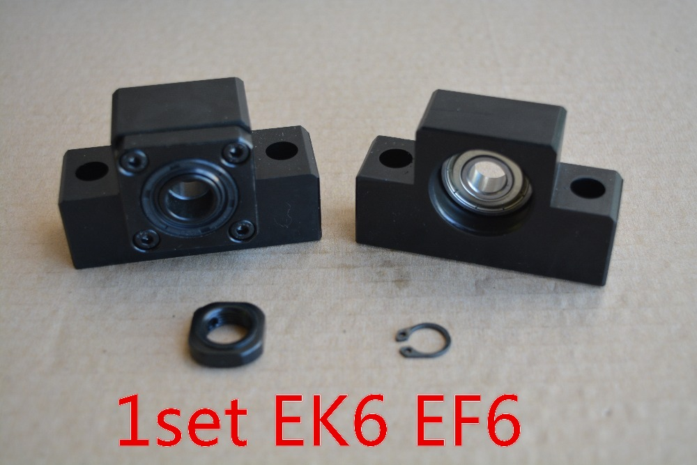 EK6 Fixed End With EF6 End Support For Ballscrew Support Seat CNC XYZ EK6 EF6 1set