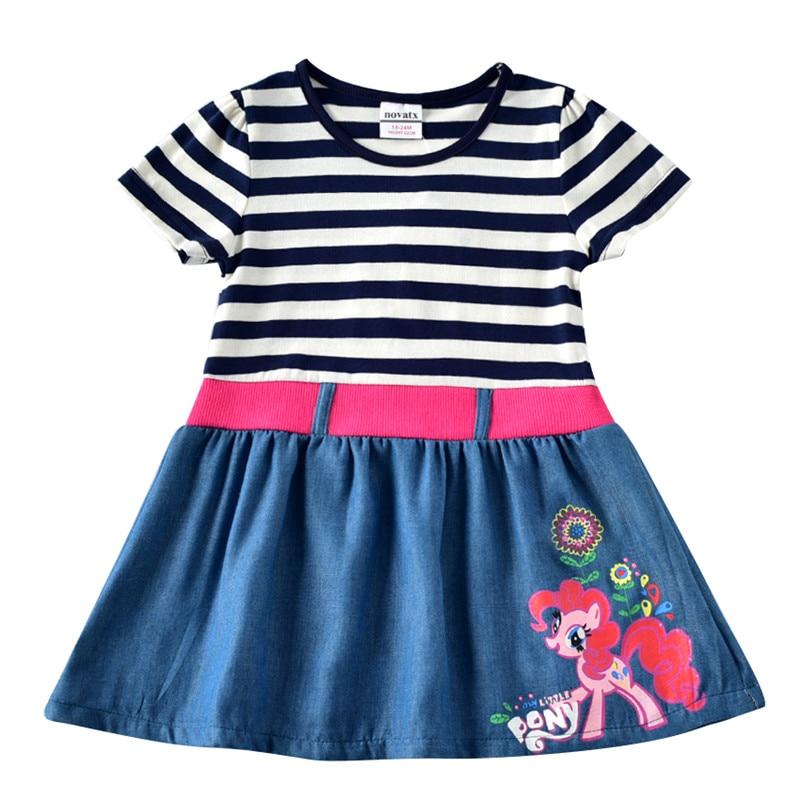 novatx 2-6T Bawełna w paski krótkie sukienki dla dzieci kreskówka - Ubrania dziecięce - Zdjęcie 1