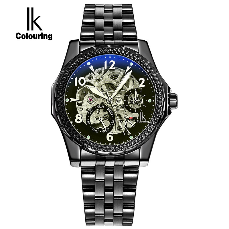 ФОТО IK 2017 New Black Men's Skeleton WristWatch Stainless steel Antique Steampunk Casual Automatic Skeleton Mechanical Watches Male