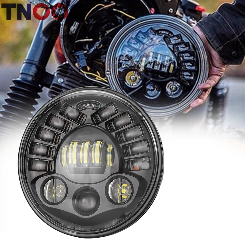 TNOOG 7Inch LED Round Motorcycle Headlight with Hi/Lo Beam Projector Daymaker 7 Round Headlamp for Harley Motor 7 free shipping 7inch round headlight 75w h4 motorcycle round led headlamp daymaker hi low beam head light bulb drl for offroad