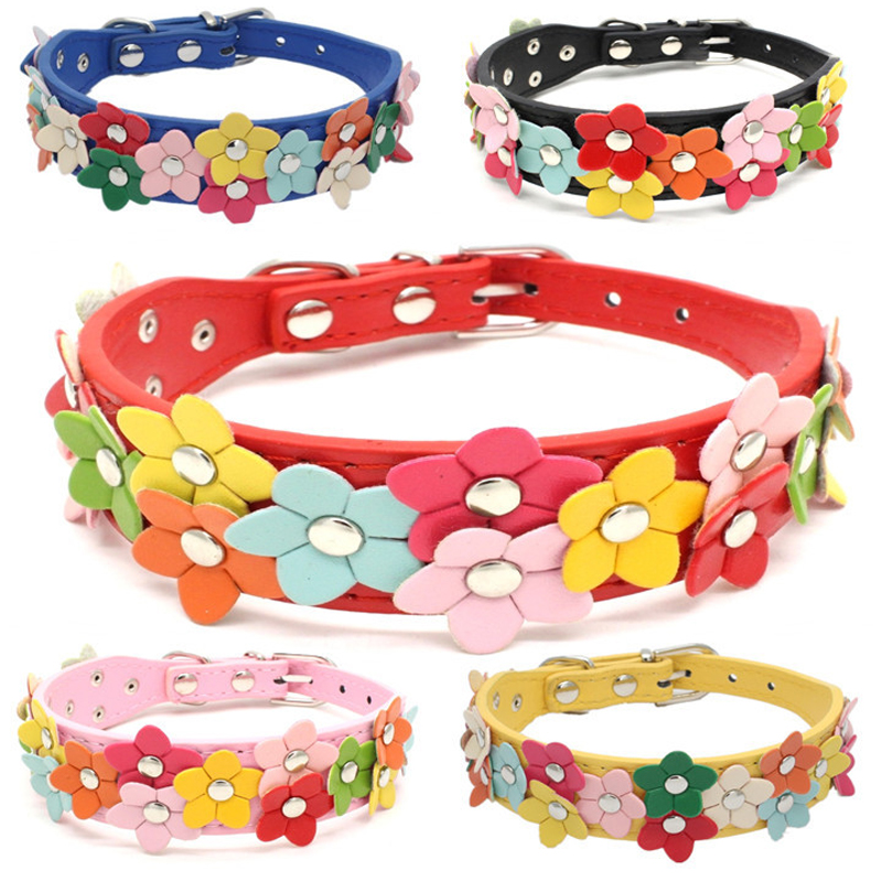 Flower Dog Collar Cute Leather Studded Dogs Necklaces Pet Collars For Small Medium Dogs 8 Colors For Chihuahua XS-M DOGGYZSTYLE