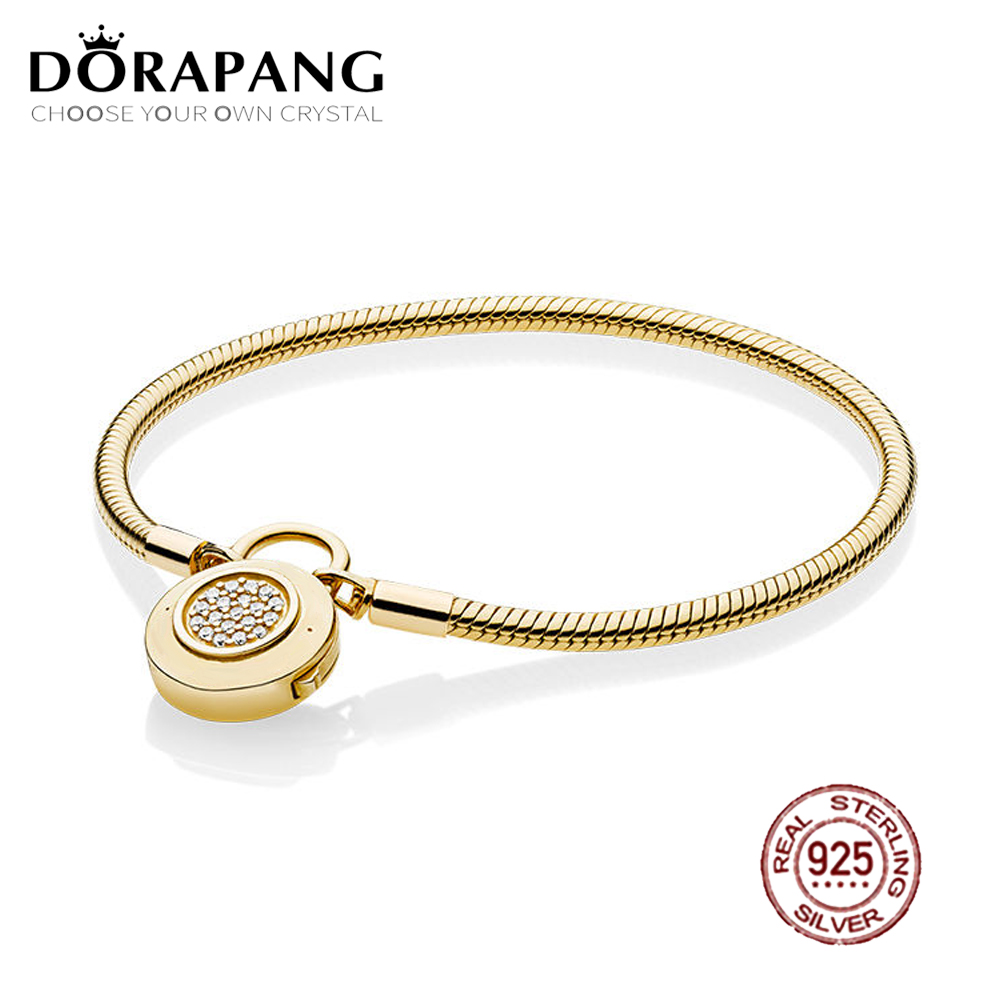 DORAPANG 2018 NEW 100% 925 Sterling Silver Smooth Shine Gold Bracelet Signature Padlock Clear CZ Charm Lock DIY Bead Jewelry 925 sterling silver pan rose gold hollow crown set clear cz fit smooth signature padlock women bangle bead charm diy jewelry