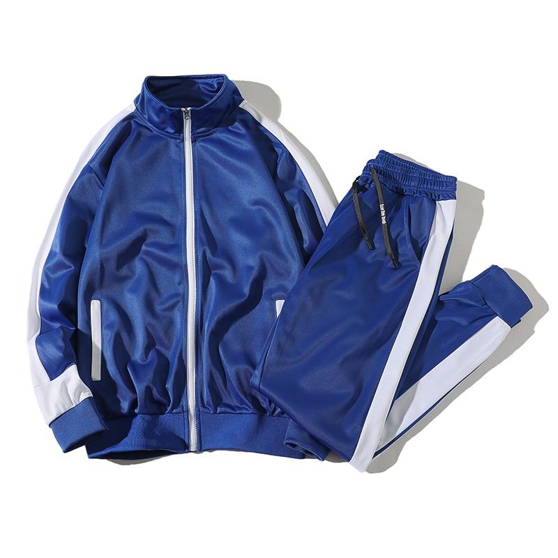 Fashion Patchwork Men's Set Spring 2 Piece Sporting Suit Jacket+Pant Sweatsuit Clothing Tracksuit Sweatshirt Sportswear