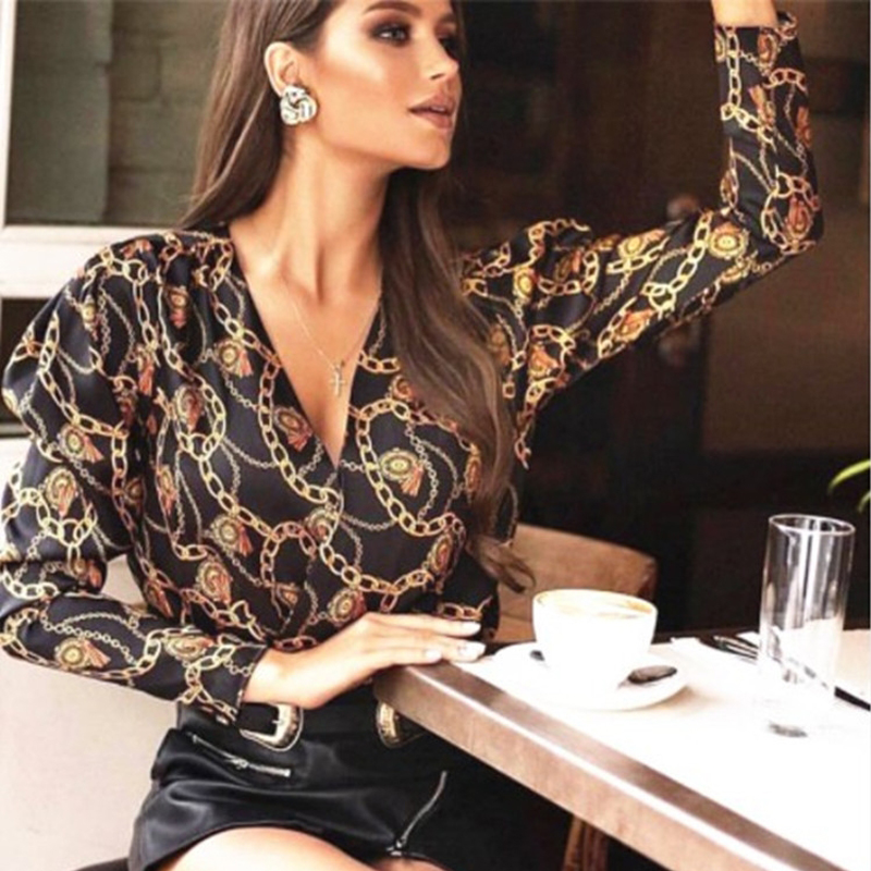Chain Print Blouse Shirts 2019 New Women Fashion Vintage V Neck Black Silk Loose Tops And Blouses Pullover Blusas Mujer De Moda