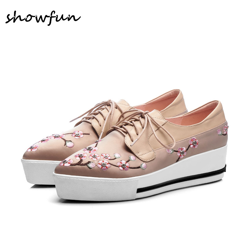 Women's genuine leather Sardin patchwork lace-up flats oxfrods brand designer embroidery flowers pointed toe comfort shoes sale