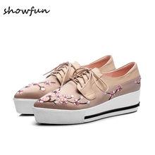 7fd77a761 Sardin genuíno sapatos de couro das mulheres patchwork lace-up flats  oxfrods marca designer bordados