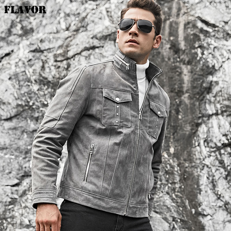 FLAVOR Men's Real Leather Jacket Men Pigskin Biker Leather Coat Grey Coat With Standing Collar
