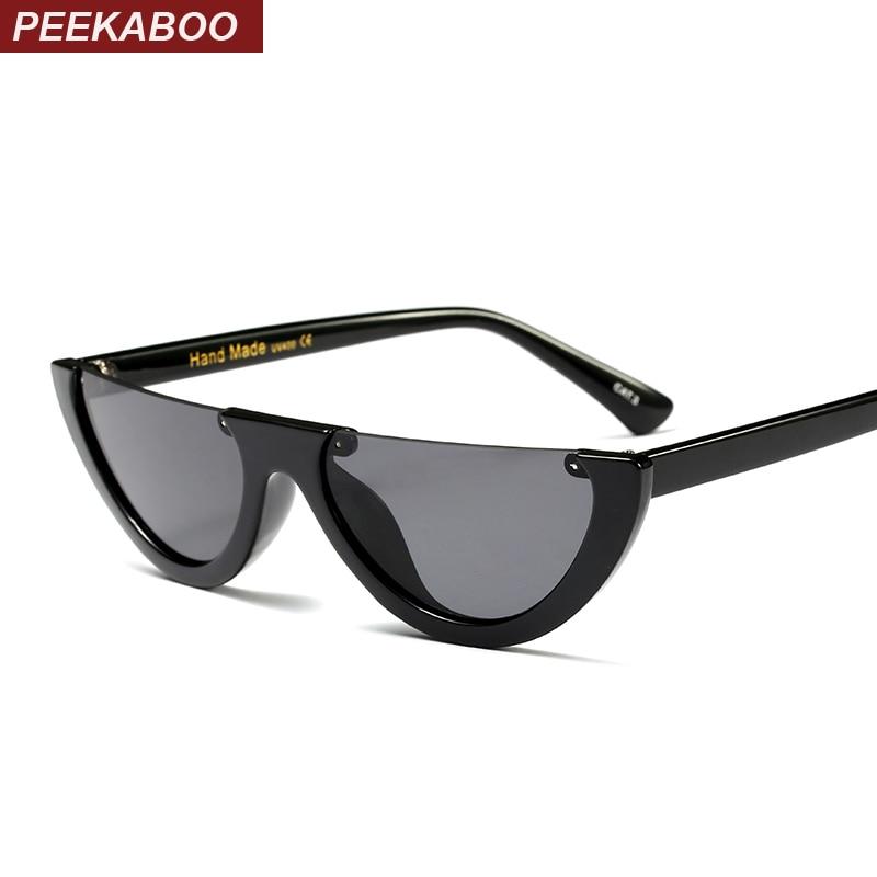 Peekaboo vintage half frame sunglasses women cat eye small black white red colorful transparent sunglasses female male uv400