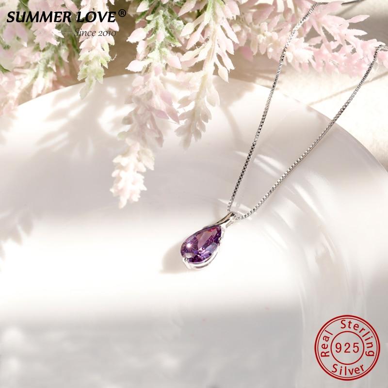 Femmes Argent Violet Gemme Améthyste Pendentif en forme de cœur cristal collier bijoux HS8