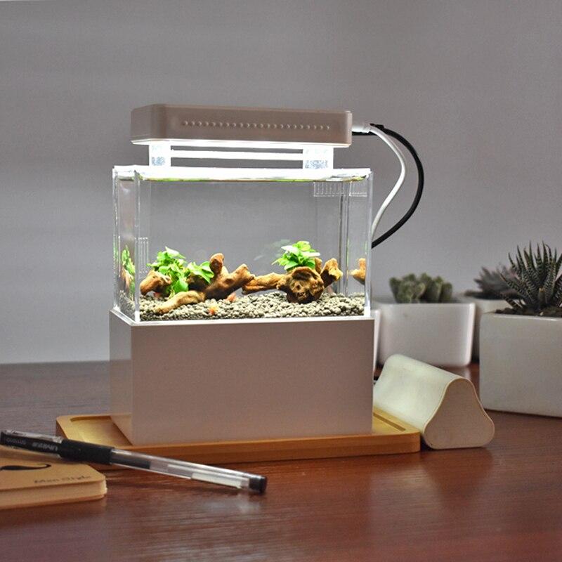 Mini Plastic Fish Tank Portable Desktop Aquaponic Aquarium Betta Bowl with Water Filtration Quiet Air Pump for Deco