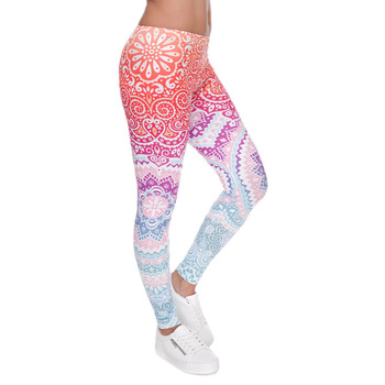 Brands Women Fashion Legging Aztec Round Ombre Printing leggins Slim High Waist  Leggings Woman Pants 1