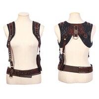 Steampunk Vintage Women Braces With Big Bag Punk Removable Multi Function Leather Braces Belt Suspenders Cool