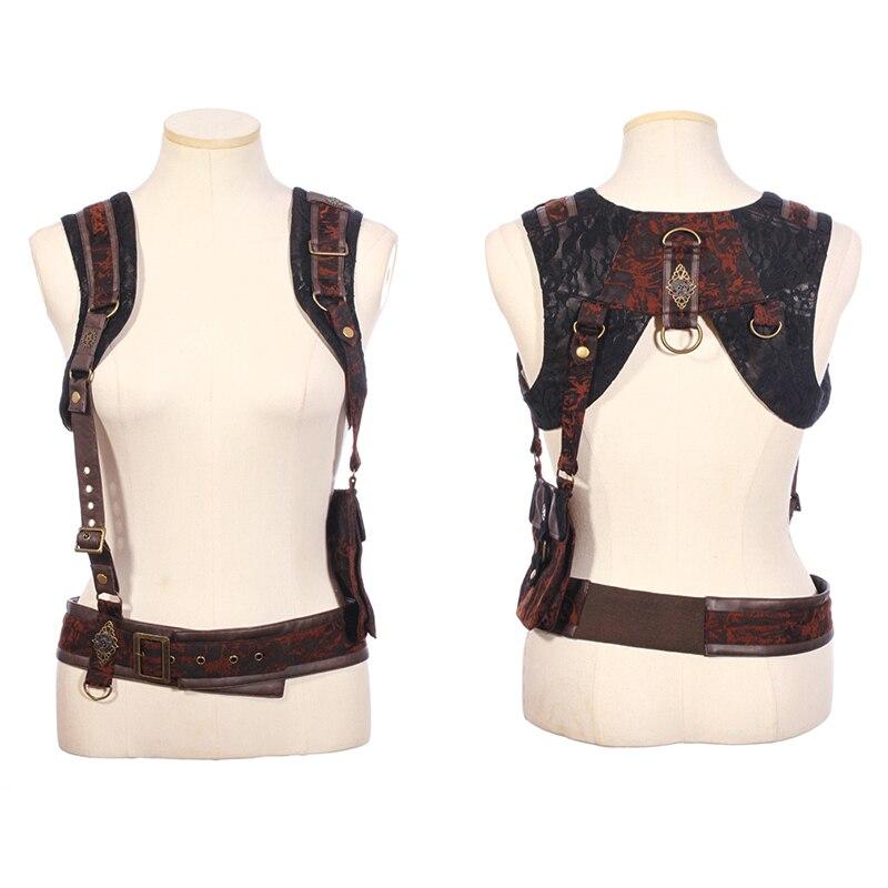 Steampunk Vintage femmes bretelles avec grand sac Punk amovible multi-fonction en cuir bretelles ceinture bretelles Cool vêtements accessoire