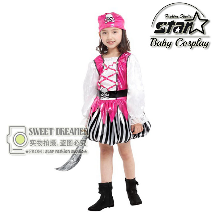 Children's Halloween Costumes Girls Pirate Costume Kids Sparrow Cosplay Game Uniforms Caribbean Clothing Stage Clothing halloween costumes for children boys kids cosplay costume fantasia disfraces game uniforms kids clothes set