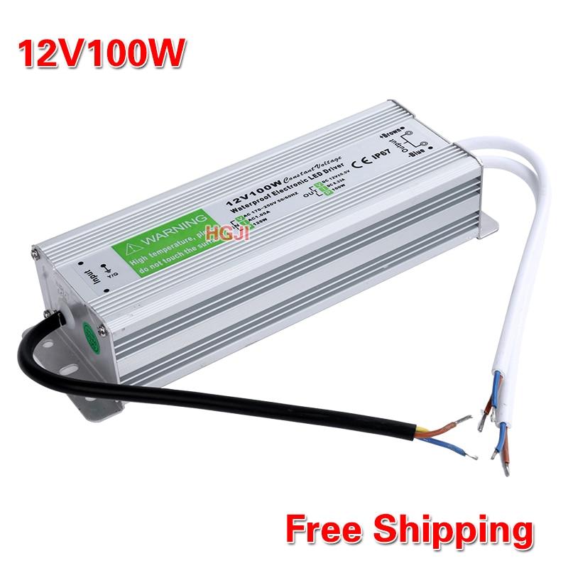US $31 29 |DC12V100W Led driver waterproof IP67 Power Supply lighting  Transformer DC12V8,5A transformer 12V100W for led strip Lights-in Lighting