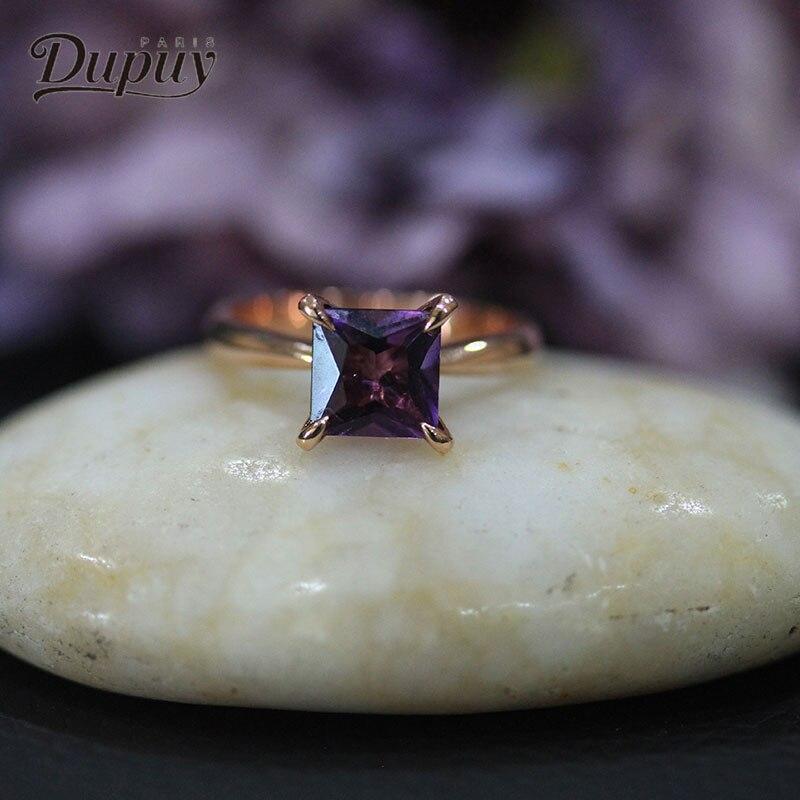 DUPUY 14K bague en or Rose marque célèbre bijoux 7mm 1.2ct coussin coupe améthyste anneau classique carré bague de fiançailles D180329