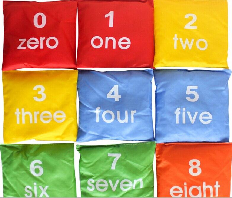10 pièces/ensemble 0 à 9 nombre enfants enfant enfants jouet lancer sac de sable intégration sensorielle formation train précoce sports de plein air jeu