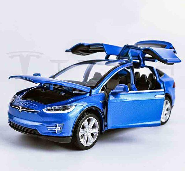 132 tesla modelx90 kids toys car model limited sale pull back musical flashing model