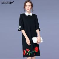 MUSENDA Plus Size Women Black Floral Embroidery Midi Dress 2018 Summer Sundress Female Ladies Casual Office