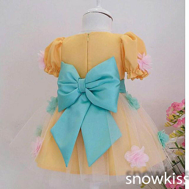 цена на 2016 Cute Colorful Gold flower girl dresses with Green Bow Baby Birthday Party Dress ball gowns toddler princess pageant dresses
