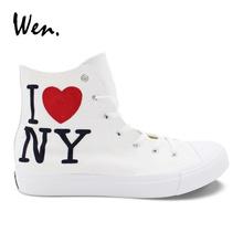 Wen Canvas Hand Painted Sneakers Design I Love New York City Men Women Lacing Shoes High Espadrilles Flat Plimsolls Zapatillas