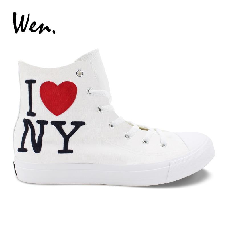 Hommes Toile Sneakers Espadrilles Chaussures De Plat Conception New Wen Peinte Zapatillas La York À Main J'aime Femmes Haute Laçage Tennis Ville QoWrCeEdxB