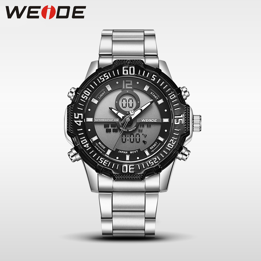 Weide luxury men watch quartz contracted in quartz watches dress watch fashion casual stainless steel bands strap sport clock weide luxury men watch contracted quartz watch stainless steel date digital led red round big dial sport water resistant watches
