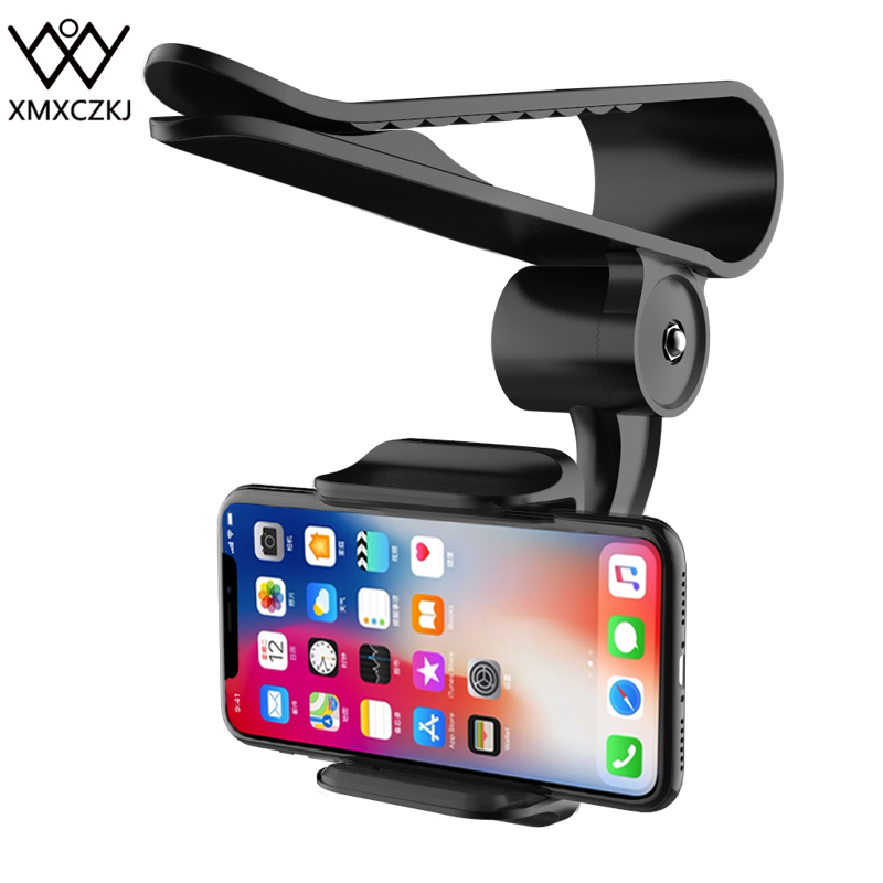 XMXCZKJ Universal 360 Car Clip Sun Visor Cell Phone Holder Mount Stand Soporte Movil For Iphone XR GPS Holder In Car Mobile Clip