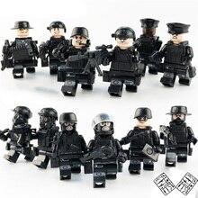 12 шт./компл. военные спецназ команды фигурки город полиция оружие Модель Строительные блоки наборы кирпич мини-игрушки для детей