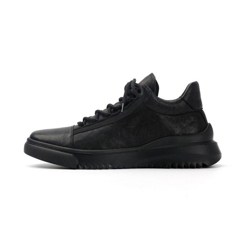 Homme décontracté chaussures en cuir de haute qualité bout rond à lacets chaussures en cuir véritable marque de luxe hommes printemps mode doux noir chaussures - 5