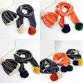 BBK 2016new BoBochoses дети шарф шляпа полоса трехмерная шерсть волосы мяч мальчиков хлопок зимние вязать шарф девушки шляпы