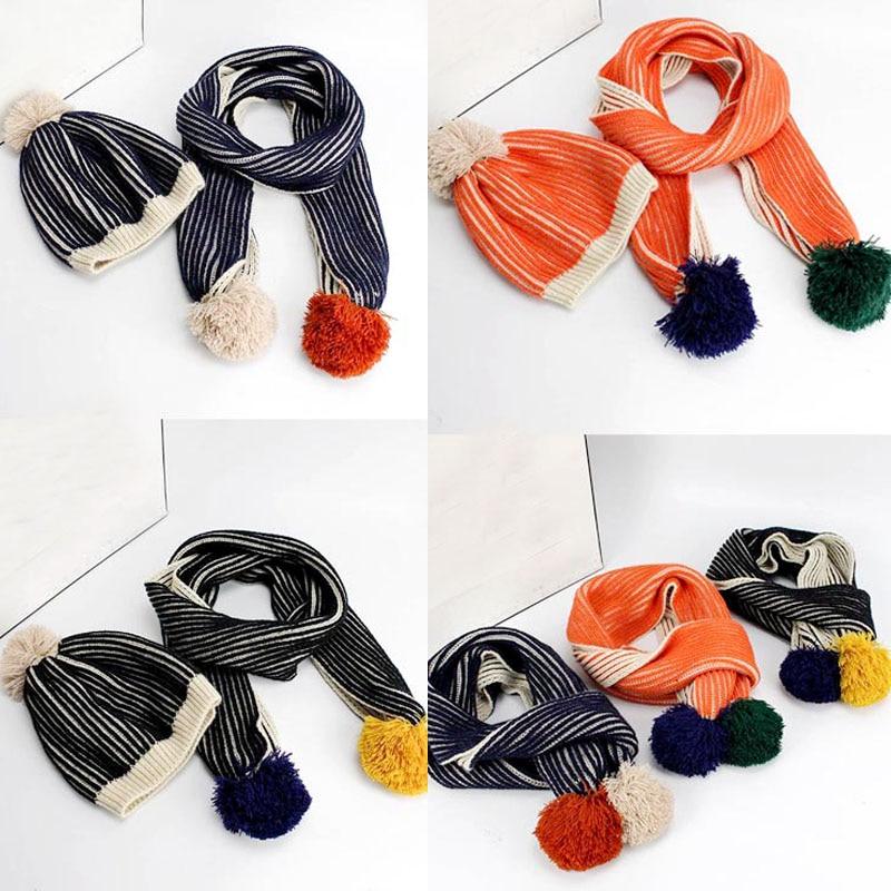 BBK 2016new BoBochoses children scarf hat stripe three-dimensional wool hair ball baby boys cotton winter knit scarf girls hats
