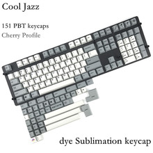 Cool Jazz pbt Cherry mx Mechanical Keyboard keycaps 151 key dye subbed cherry profile 1.75shift iso keys For Corsair STRAFE K65