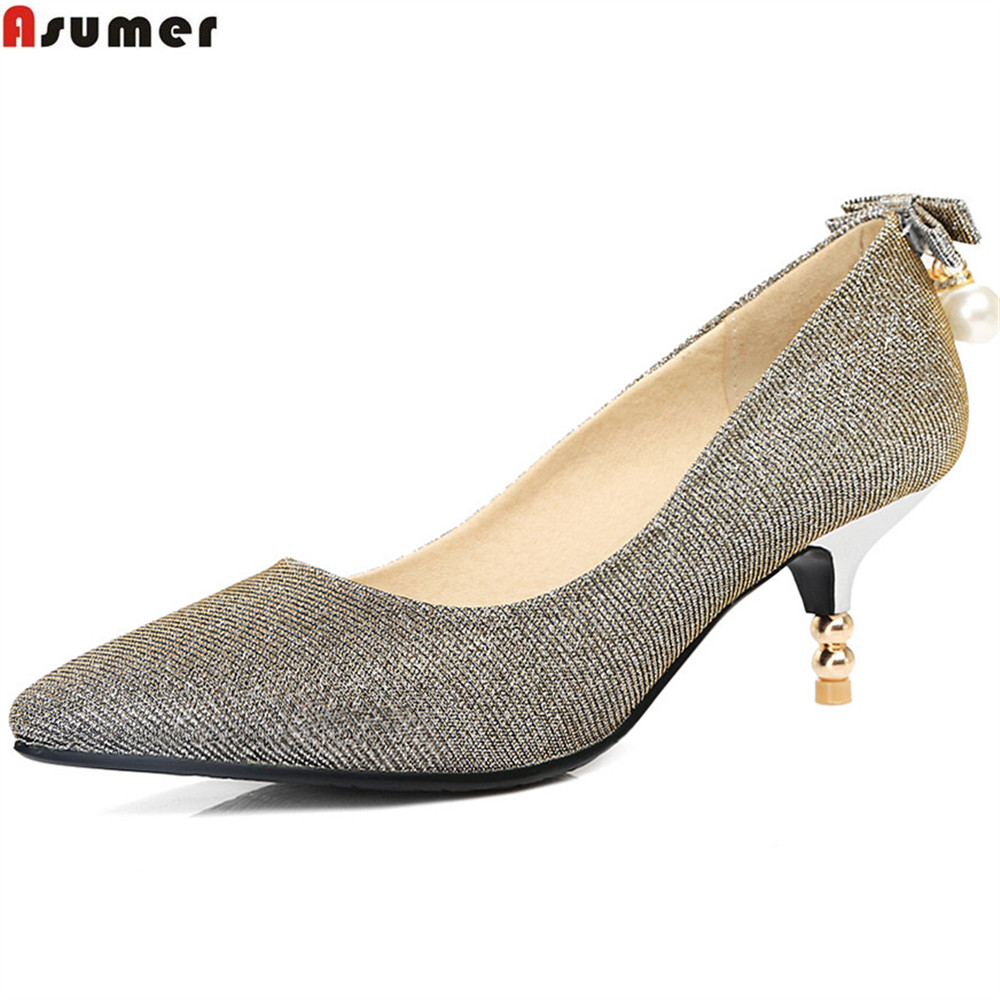 ASUMER 2018 spring autumn new arrival women pumps pointed toe ladies shoes shallow elegant high heels shoes big size 34-45 asumer gold silvery fashion square toe buckle ladies single shoes spring autumn women high heels shoes big size 32 44