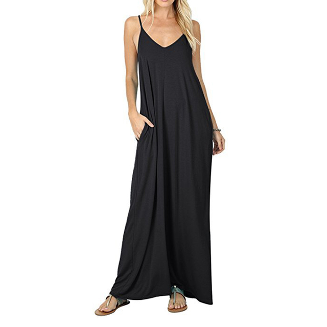 98e3d5180d5 Long Maxi Dress Women Sleeveless Casual Dress Boho Beach Dress Strap Pockets  Femme Summer Black Dresses